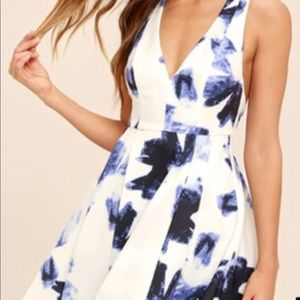 Lulus white skater dress with blue print
